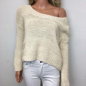 Vince Ivory Cotton Crochet Knit Sweater